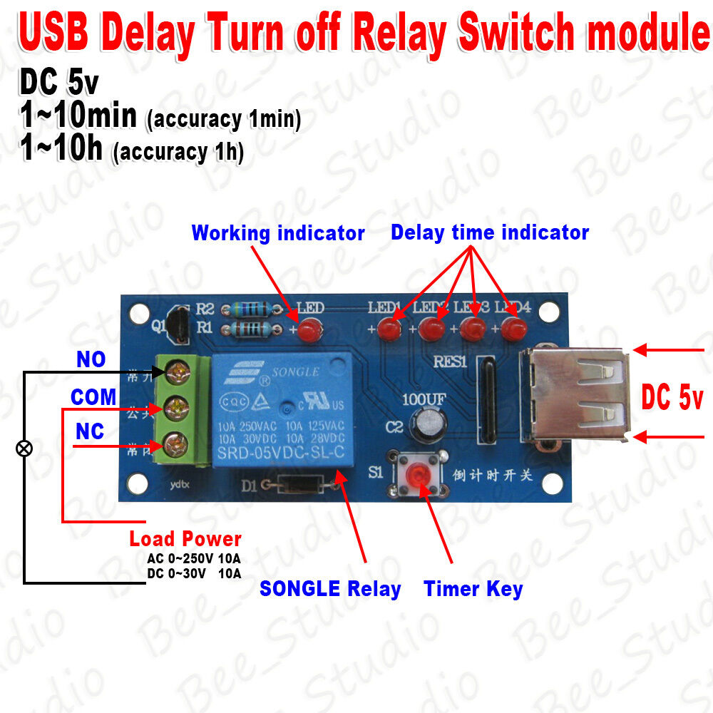 Ac 220v Schematic Wiring Dc 5v Delay Time Delay Turn Off Switch Timer Countdown