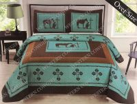 Texas Praying Cowboy Cross Western Quilt Bedspread