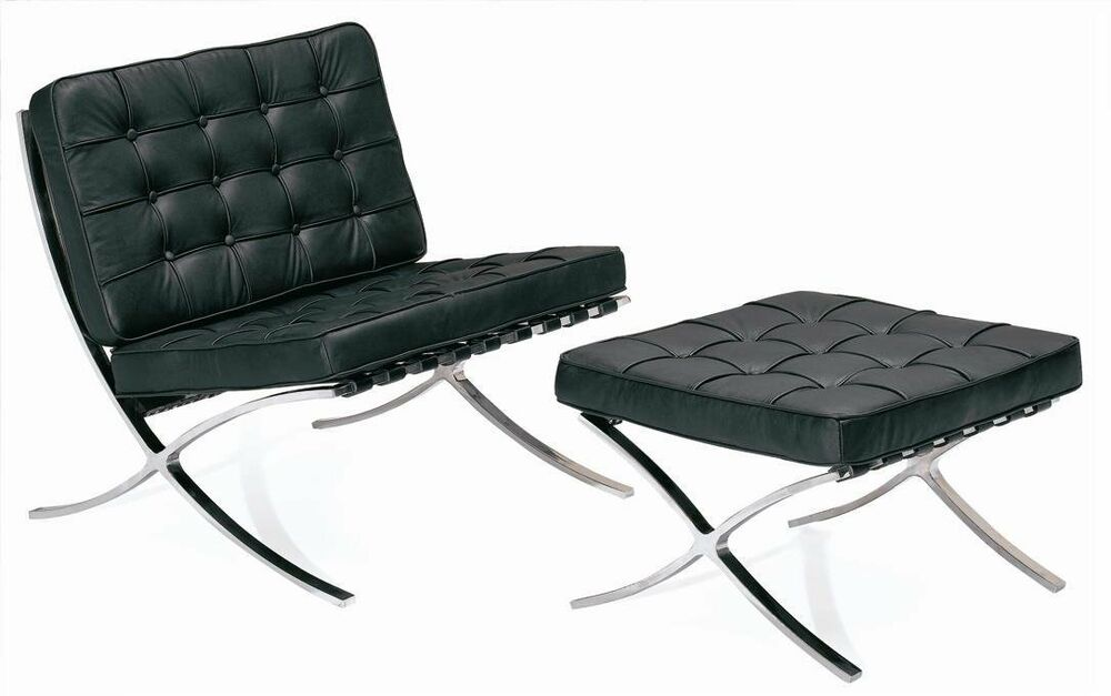 Real Leather Barcelona Lounge Chair And Ottoman Stool