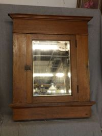 Large Antique Oak Recessed Medicine Cabinet Cupboard ...