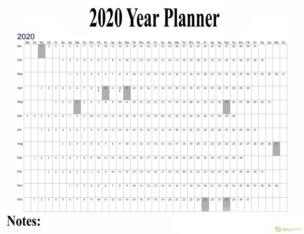 2018 Project Staff Holiday Planner Office Leave Large Wall