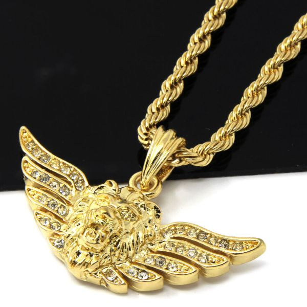 Mens 14k Yellow Gold Plated 24in Iced Long Wing Lion Rope Chain Necklace