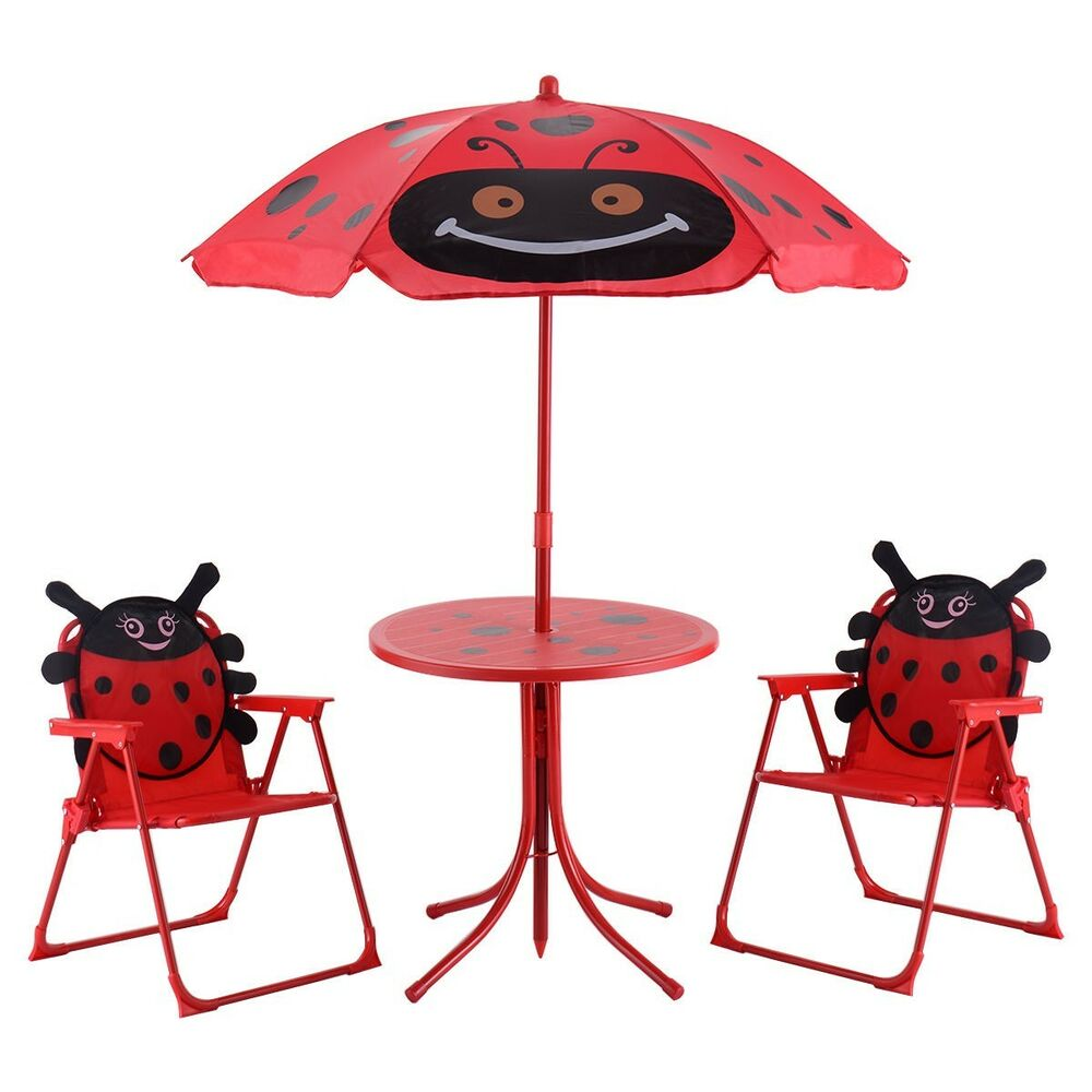 Kids Patio Set Table And 2 Folding Chairs w/ Umbrella