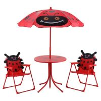 Kids Patio Set Table And 2 Folding Chairs w/ Umbrella ...