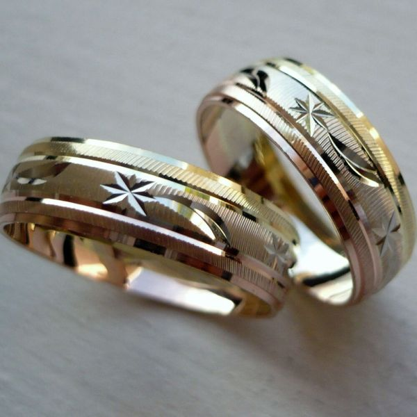 14k Solid Tricolor Gold And Wedding Band Ring Set Sz 5-13 Free Engraving