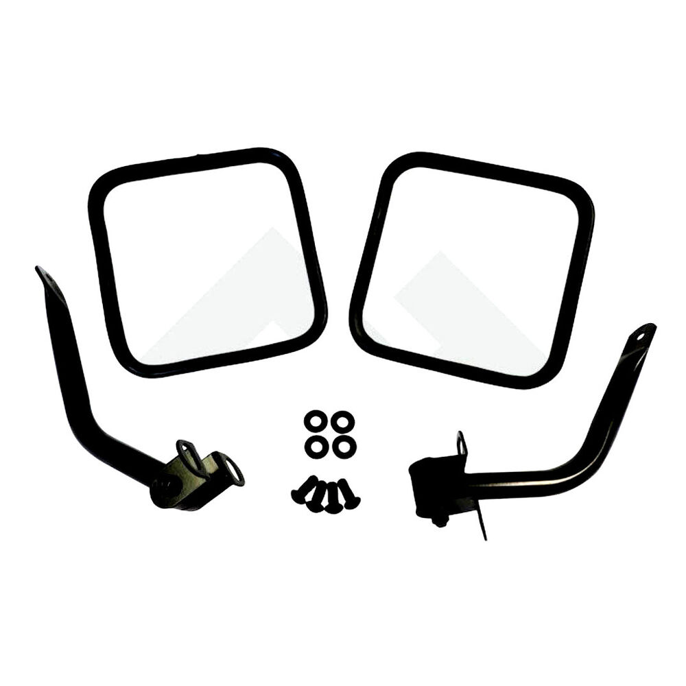 Side Mirror Kit PAIR Jeep CJ Wrangler YJ Black 1976-1995
