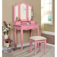 Janelle Vanity Makeup Table Set Tri-Folding Bench Mirror ...