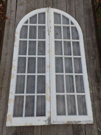 Pr Antique 16 Lite Arched Dome Top French Doors Old Shabby ...