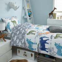 BOYS KIDS SAFARI ANIMAL BEDDING DUVET COVER AND PILLOWCASE