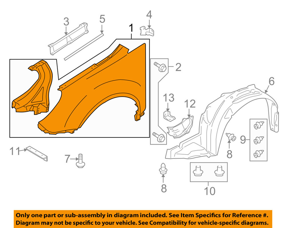 hight resolution of details about subaru oem 06 07 b9 tribeca front fender quarter panel right 57110xa04a9w