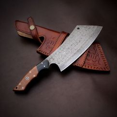 Forged Kitchen Knives Cabinets Financing Handmade Damascus Steel Chef Cleaver Knife Micarta ...