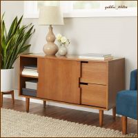 Mid Century Modern Wood Warm Pecan Finish Credenza Bar