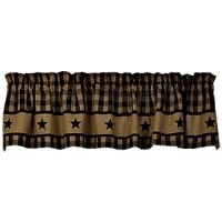 New Primitive BLACK COUNTRY STAR Homespun Checked Curtain ...