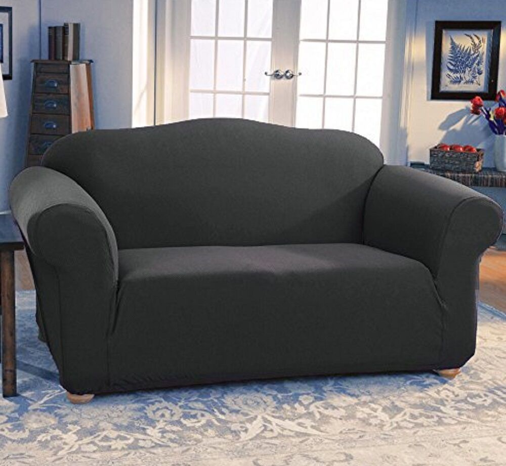 JERSEY STRETCH FIT 2 Pc Furniture Slipcover Set SofaCouchLoveseat Covers GRAY  eBay