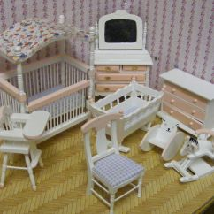 Living Room Furniture Collections Modern With Tv Above Fireplace 1:12th Scale 8 Piece Pink & White Nursery Set Dolls House ...