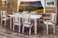 Rustic LOG Kitchen Table Chairs Set Lodge Cabin Table SIX ...