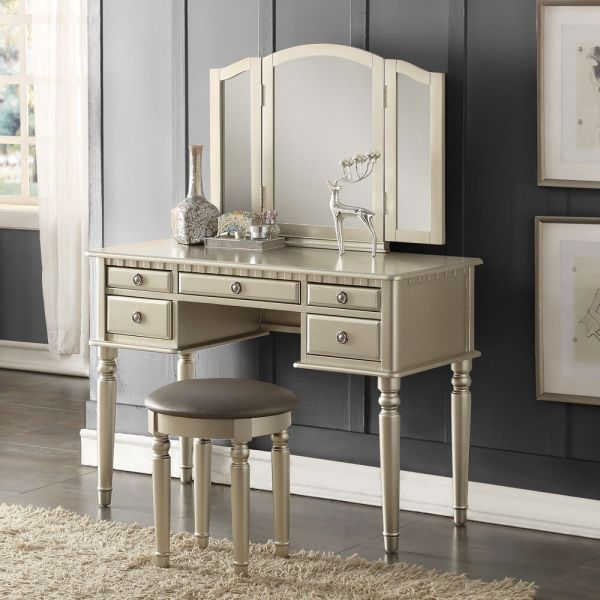 Tri Folding Mirror Vanity Set Makeup Table Dresser