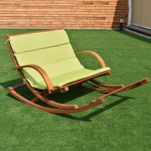Patio Wood 2 Person Rocking Lounge Chair Slat Porch