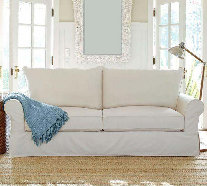 POTTERY BARN COMFORT ROLLED ARM SLIPCOVERED LOVESEAT AND