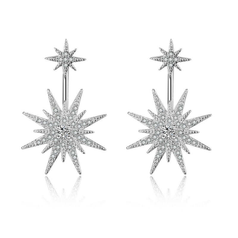 Fashion Solid 925 Sterling Silver Cluster Natural Zircon