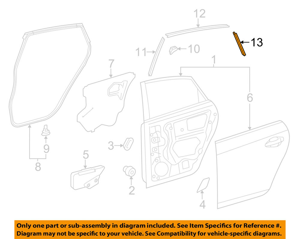 hight resolution of details about toyota oem 10 15 prius rear door stripe left 7598947020
