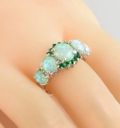 details about green fire opal emerald women jewelry gems silver ring size 7 8 9 fashion [ 1000 x 1000 Pixel ]