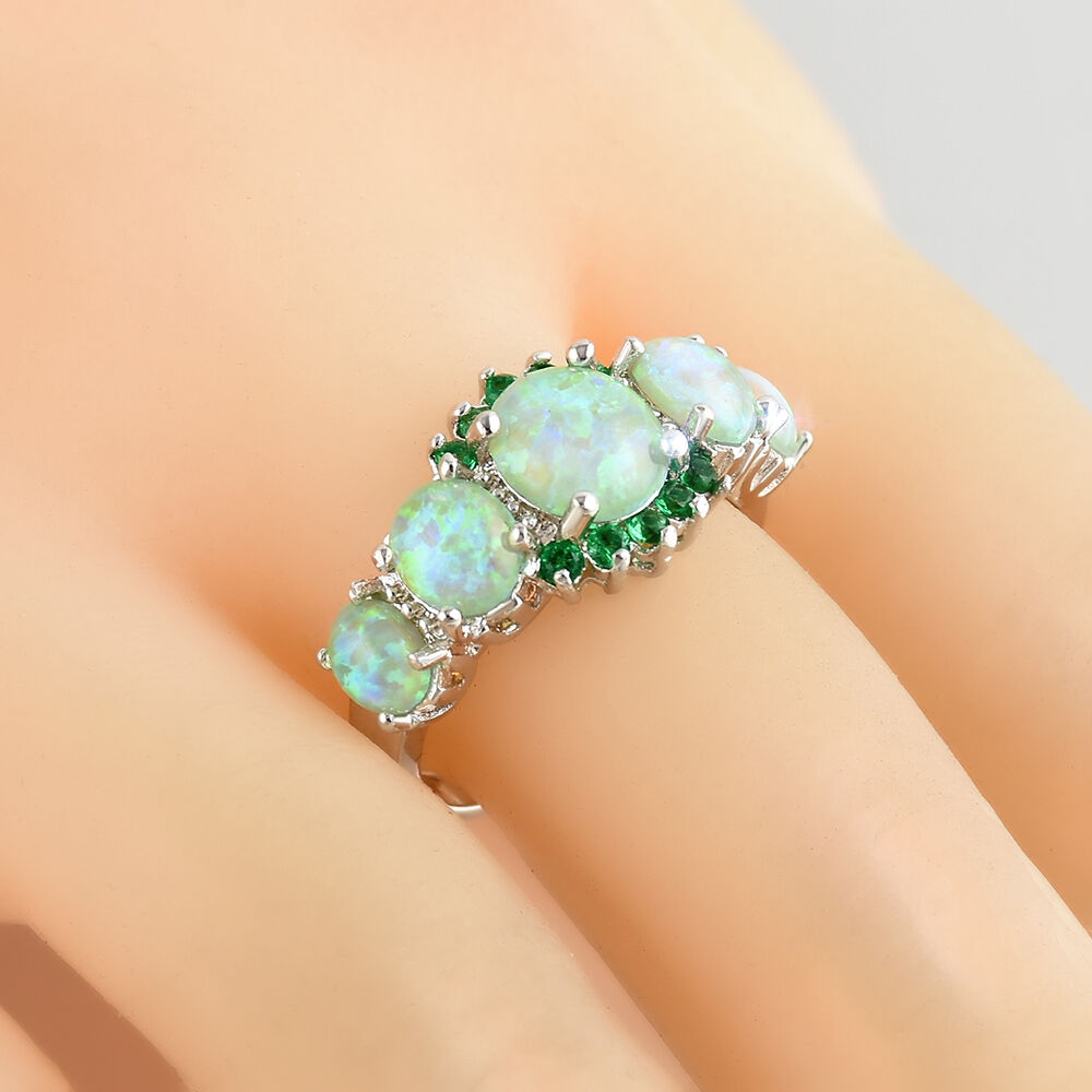 hight resolution of details about green fire opal emerald women jewelry gems silver ring size 7 8 9 fashion
