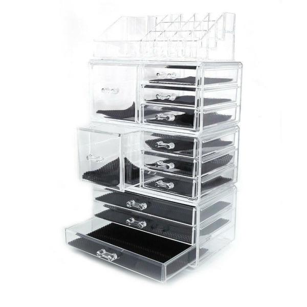 Acrylic Cosmetic Tower Organizer Makeup Holder Case Box Jewelry Storage Drawer 720956854778