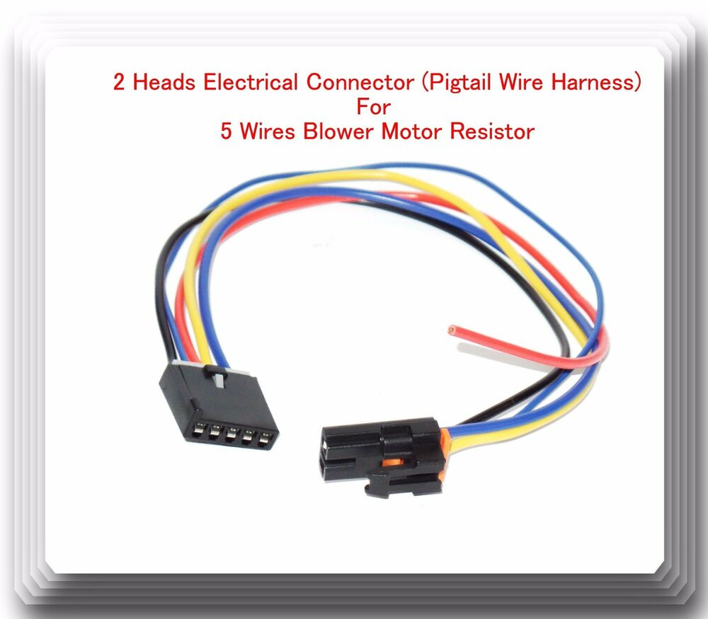 hight resolution of 2 heads 5 wire harness pigtail connector for blower motor resistor fits gm ford 601871671629 ebay