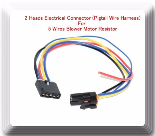 small resolution of 2 heads 5 wire harness pigtail connector for blower motor resistor fits gm ford 601871671629 ebay