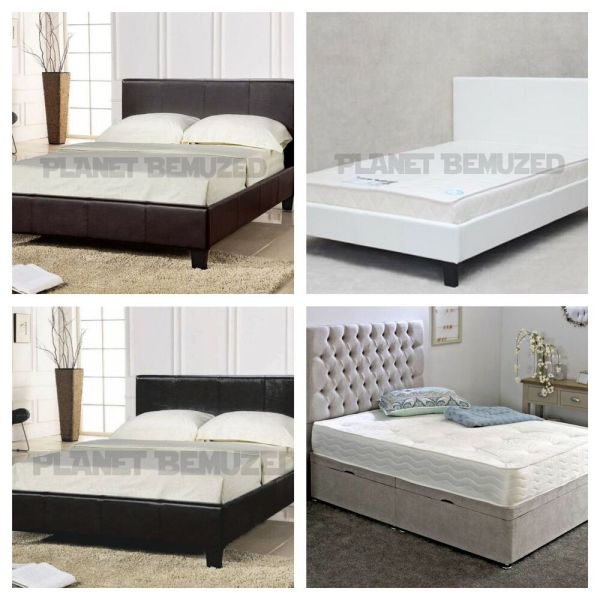 Cheap Bed Frame Double King Size Leather Beds With Memory Foam Mattress Deal
