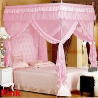 Mosquito Net Bed Canopy-lace Luxury 4 Corner Square ...