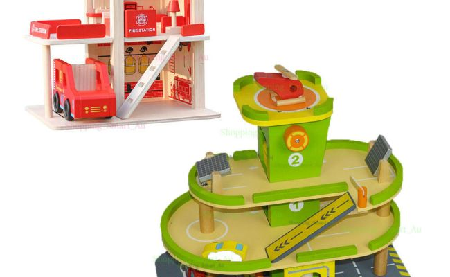 Kids Wooden Pretend Play Toy Parking Lot Garage Fire