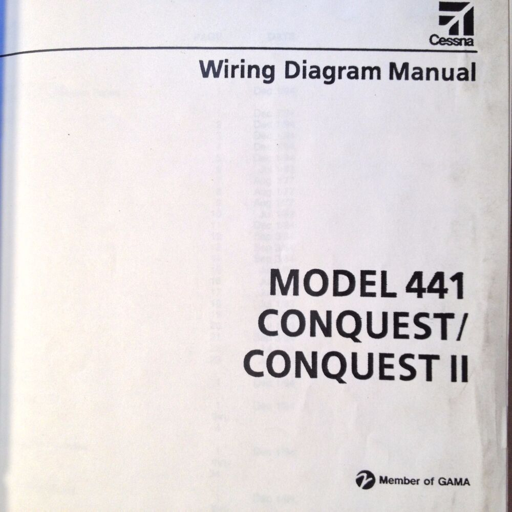 hight resolution of cessna conquest and conquest ii model 441 wiring diagram manual ebay