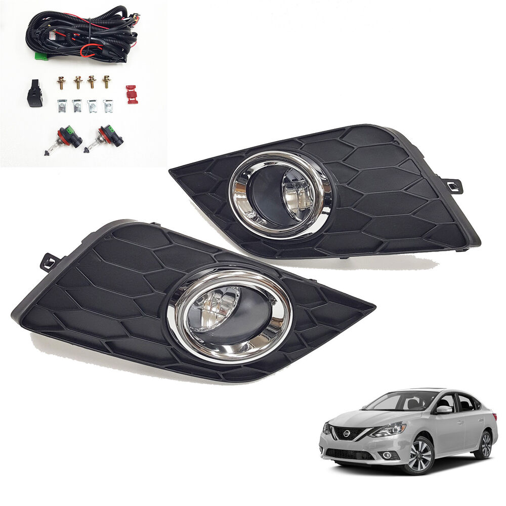 medium resolution of details about for 2016 2018 nissan sentra s sv sl clear fog lights w bezel wiring switch bulbs