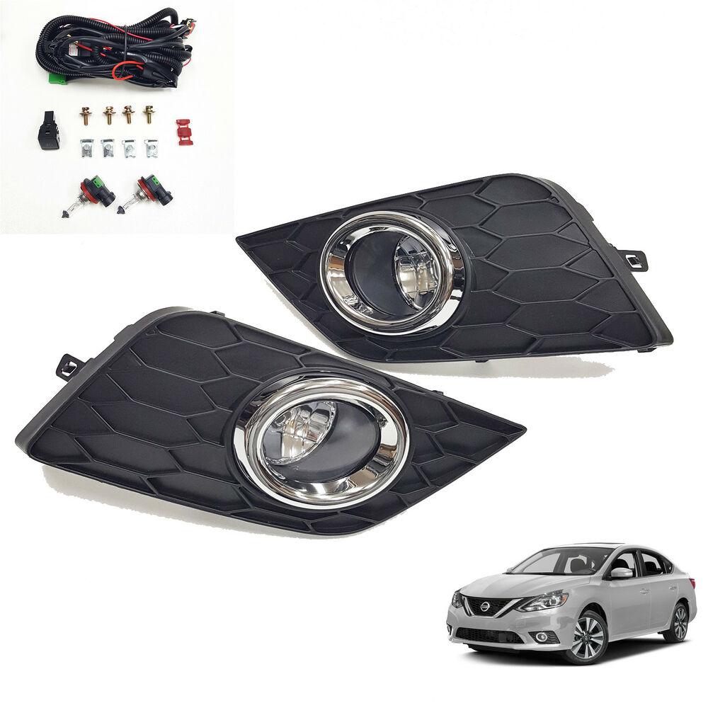 hight resolution of details about for 2016 2018 nissan sentra s sv sl clear fog lights w bezel wiring switch bulbs