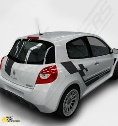 fits renault clio sports full kit racing side stripes car stickers graphics ebay [ 1000 x 1000 Pixel ]