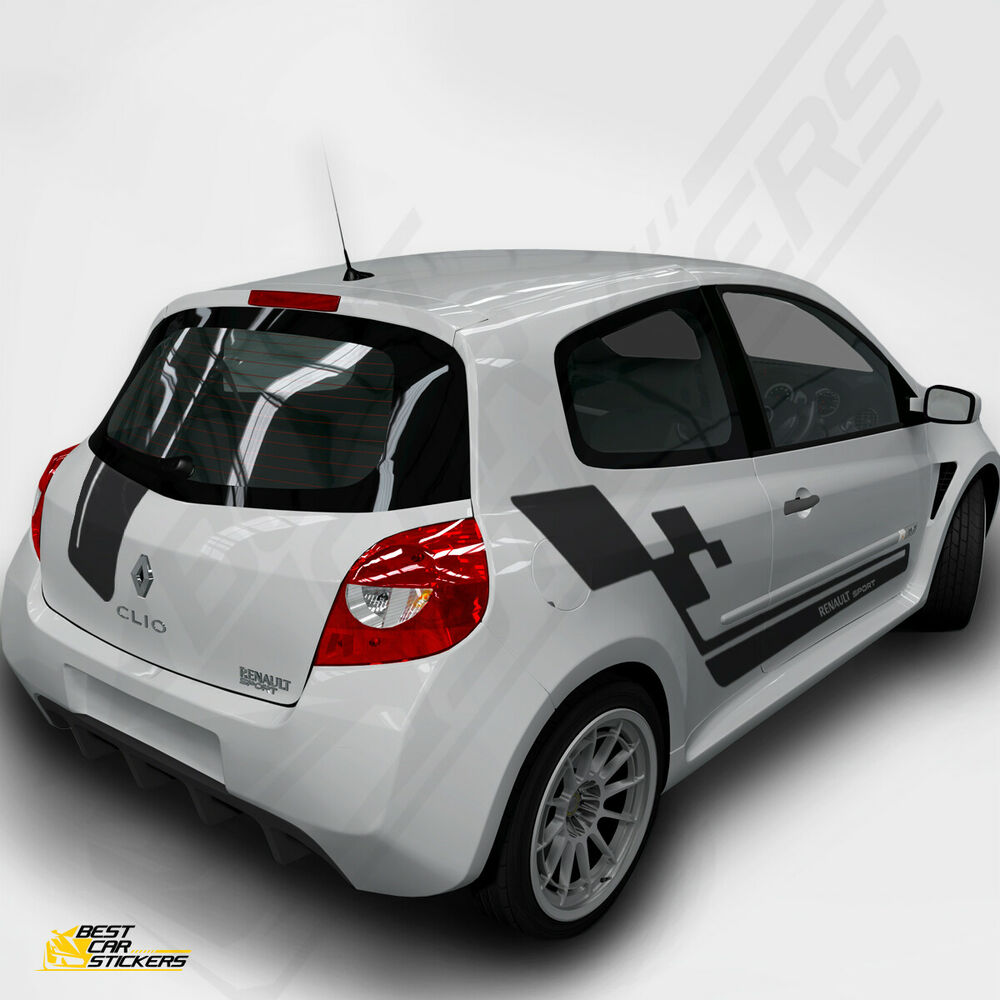 medium resolution of fits renault clio sports full kit racing side stripes car stickers graphics ebay