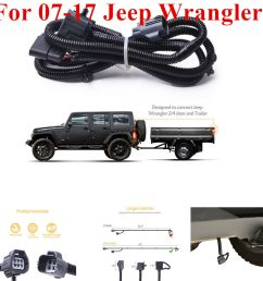 details about for 07 17 jeep wrangler jk 2 4 65 trailer hitch wiring harness kit 4 way [ 1000 x 1000 Pixel ]