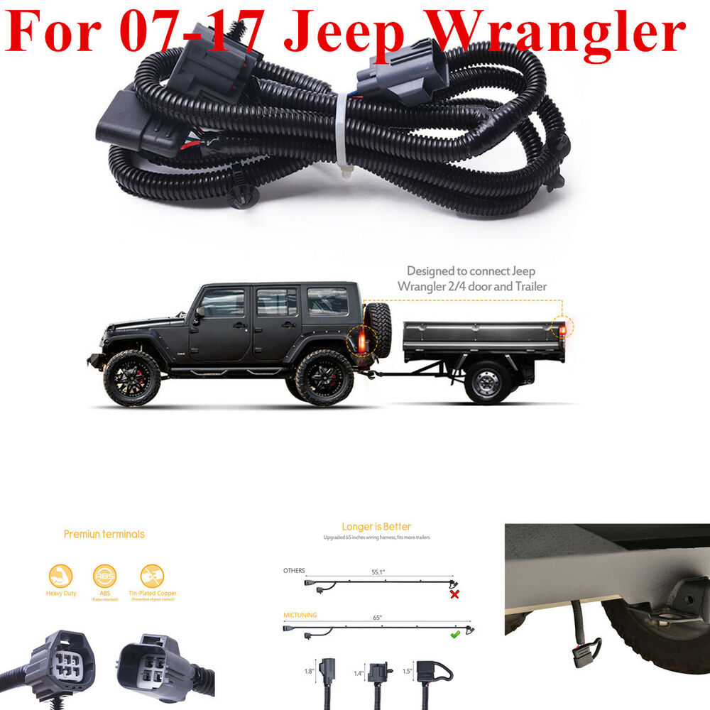 hight resolution of details about for 07 17 jeep wrangler jk 2 4 65 trailer hitch wiring harness kit 4 way