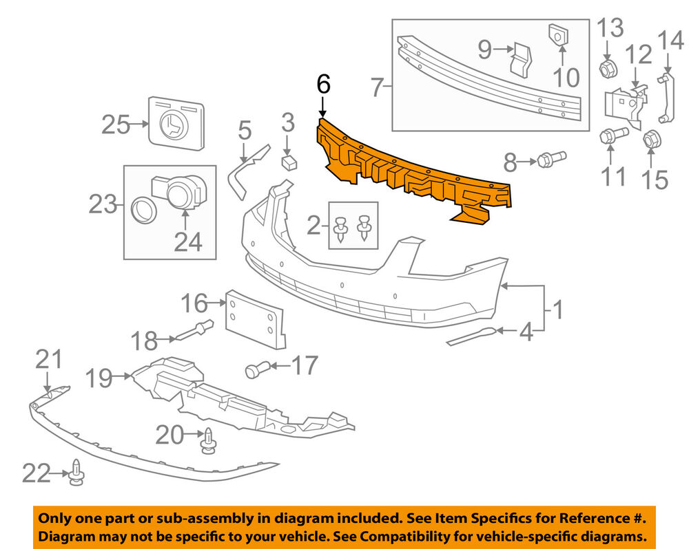 medium resolution of details about cadillac gm oem 06 11 dts bumper face foam impact absorber bar 15247630