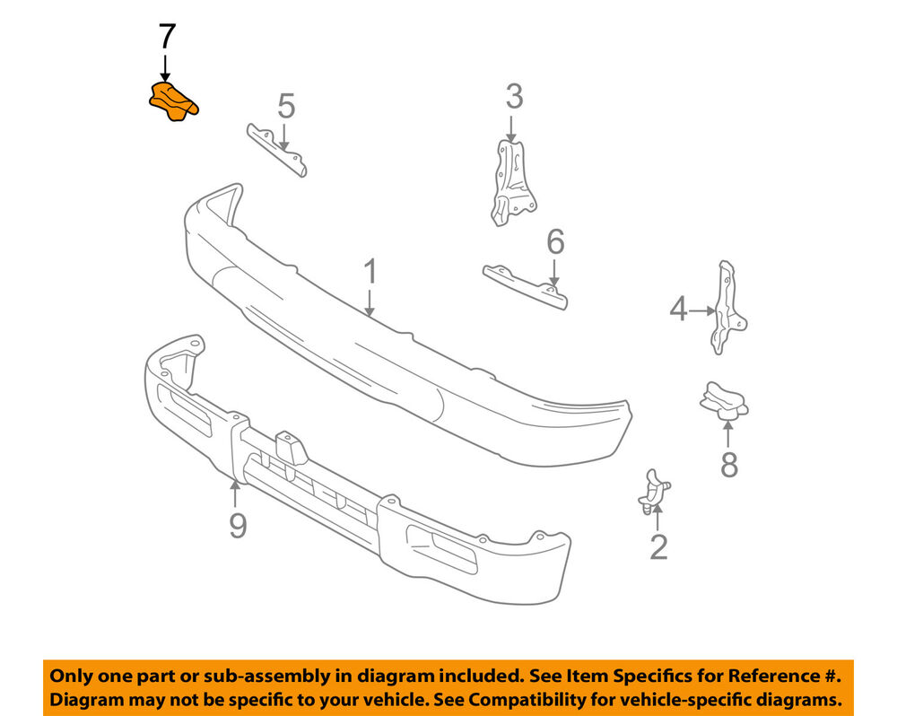 hight resolution of details about toyota oem 95 97 tacoma front bumper filler retainer right 5252235020
