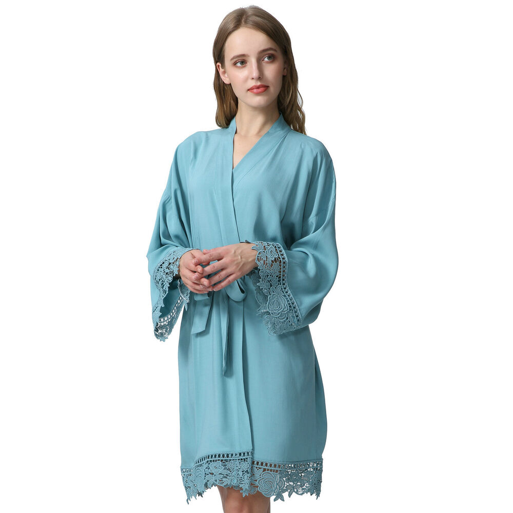 Cotton bridesmaid Robes With Lace Trim Women Wedding Bridal Robe lace Dusty  eBay