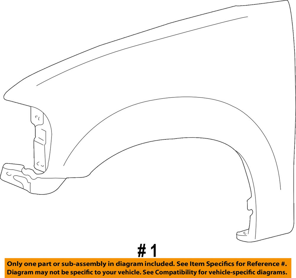hight resolution of details about ford oem 04 08 f 150 front fender quarter panel right 6l3z16005a