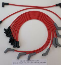 details about 1988 97 ford trucks vans f250 f350 f450 e250 e350 7 5l 460 red spark plug wires [ 1000 x 841 Pixel ]