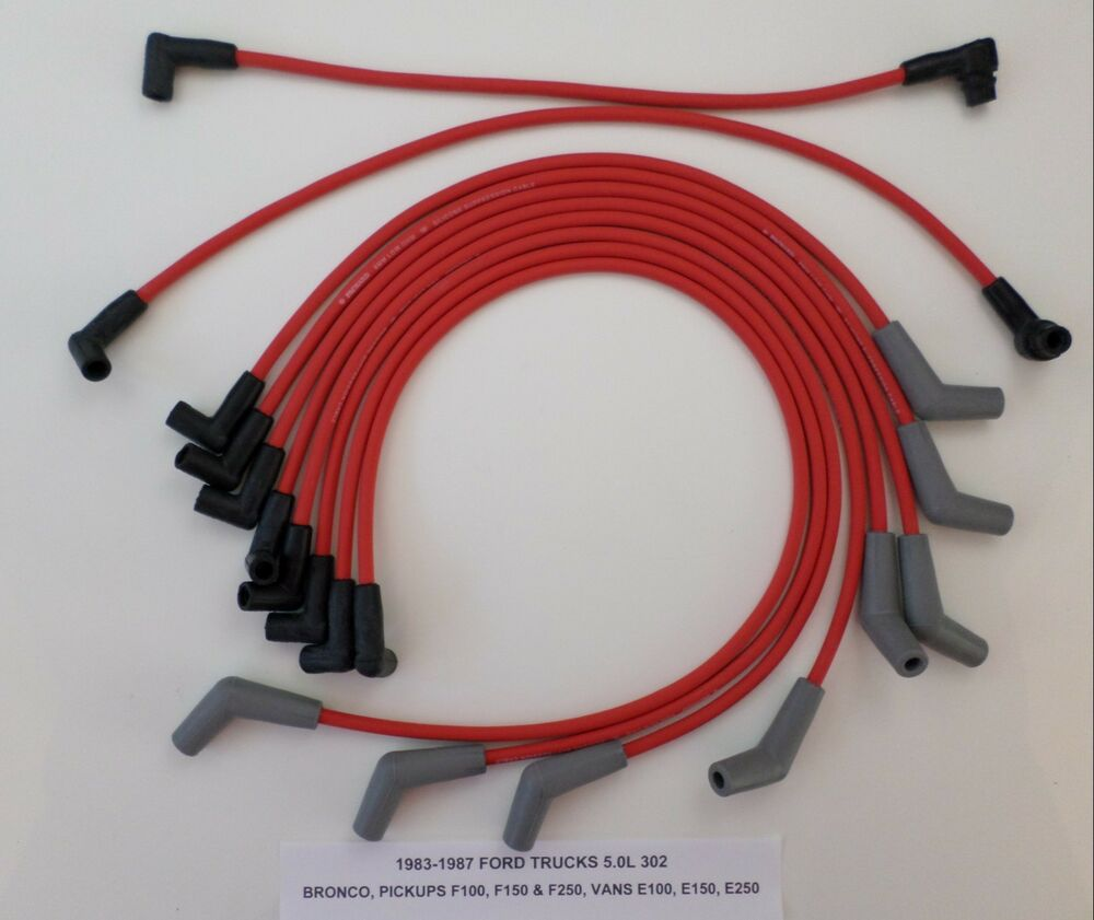 hight resolution of details about 1988 97 ford trucks vans f250 f350 f450 e250 e350 7 5l 460 red spark plug wires