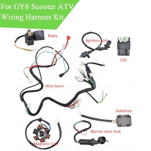 small resolution of details about wiring harness kit electrics wire loom assembly for chinese gy6 150cc atv quad