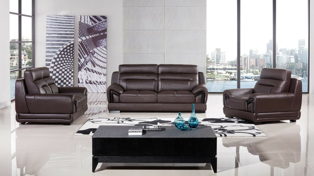 genuine leather sofa and loveseat 6pc outdoor patio garden wicker furniture rattan set sectional 3 pc dark chocolate brown chair living details about room