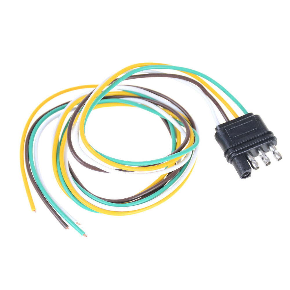 hight resolution of details about trailer light wiring harness extension 4 pin plug 18 awg flat wire connector