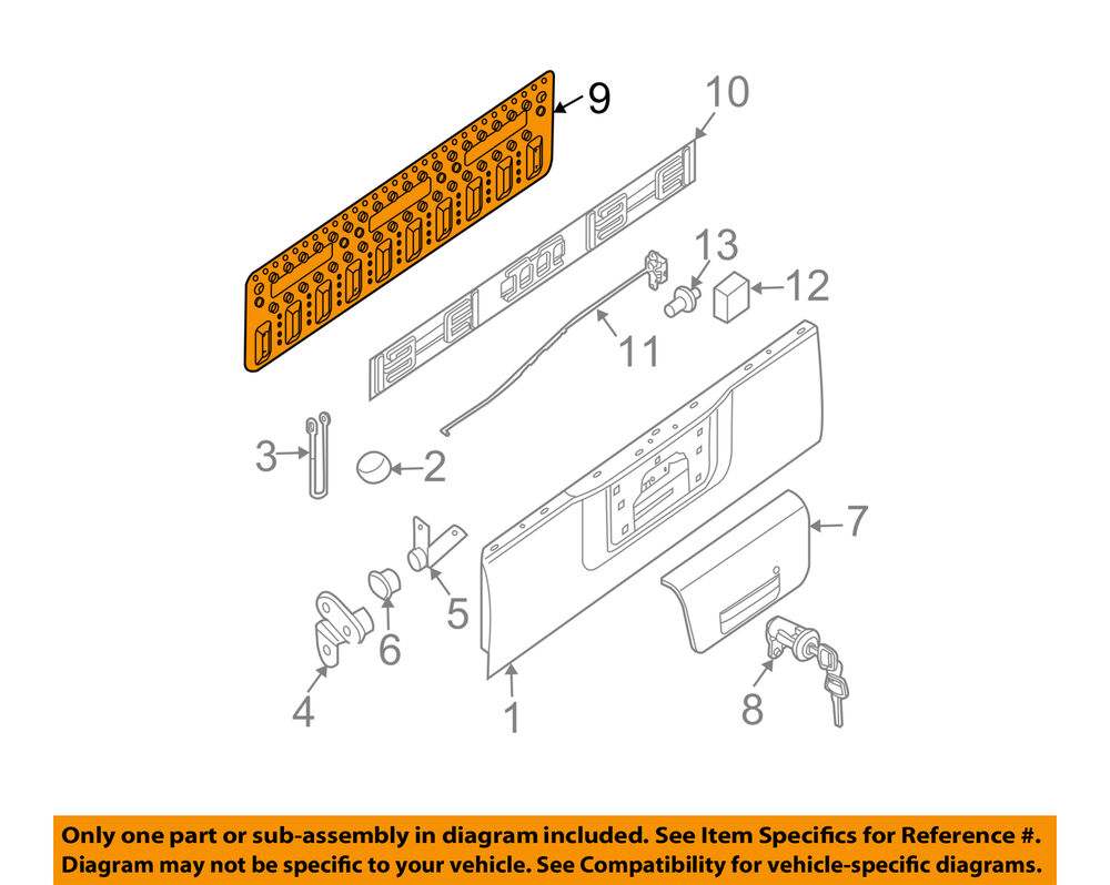 medium resolution of details about nissan oem 07 18 frontier tail gate trim 90522zp50a